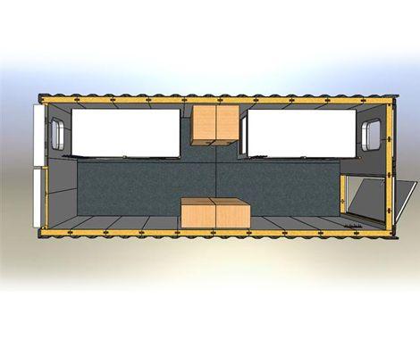 Beboelsescontainer til skibe mm. 3d fra top