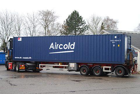 Flytbar teknik container på lastbil