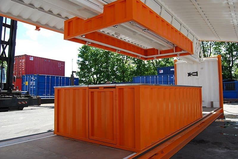 40 fods container med hydraulisk sideåbning set fra siden