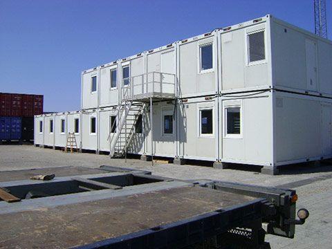 ISO container til beboelse set udefra