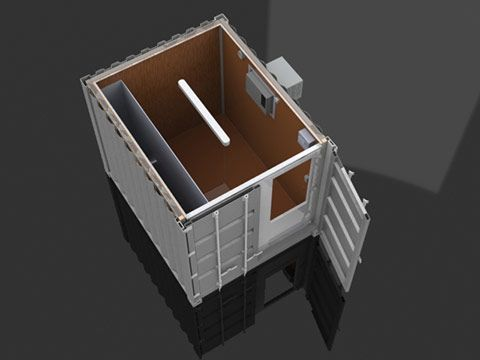 Isoleret container 3D visualisering