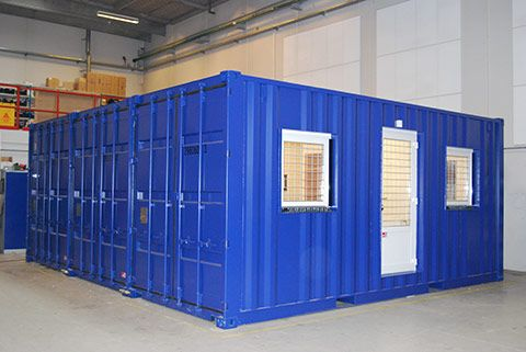 Mobile mandskabsvogne i containere