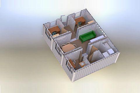 Mobile mandskabsvogne i containere 3D visualisering