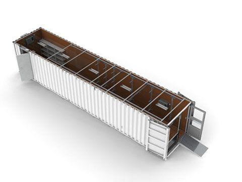 Mobilt container værksted 3D visualisering fra siden