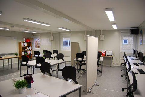 Modulbaserede undervisningslokaler indefra