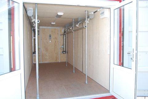 Tørrecontainer til forsvaret - indretning