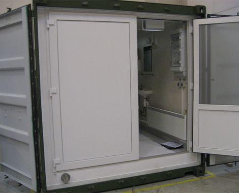 Toilet og bad container til militært brug