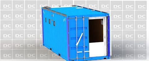 Udstillingscontainer set fra enden