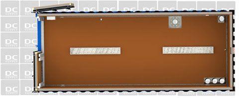 Udstillingscontainer set fra oven
