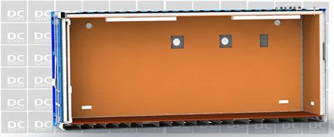 Udstillingscontainer set fra siden