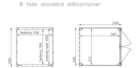 Plantegning 8 fods container