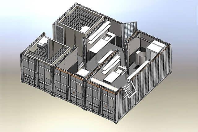 Mobilt kantine container køkken - 3D illustration