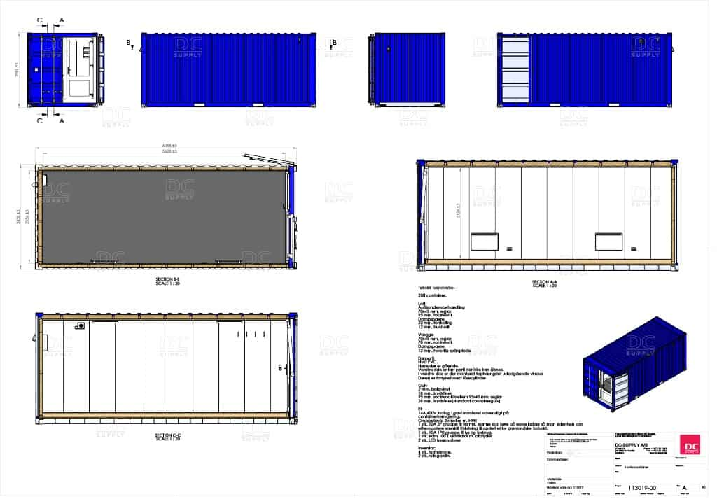 Billig 20 fods kontor container med CSC-godkendelse