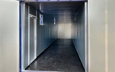 40 ft container with liquid collection tray and sound proofing