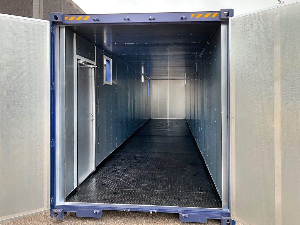 40 fods støjdæmpet container med opsamlingskar