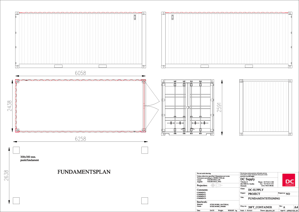 Foundation plan 20ft container