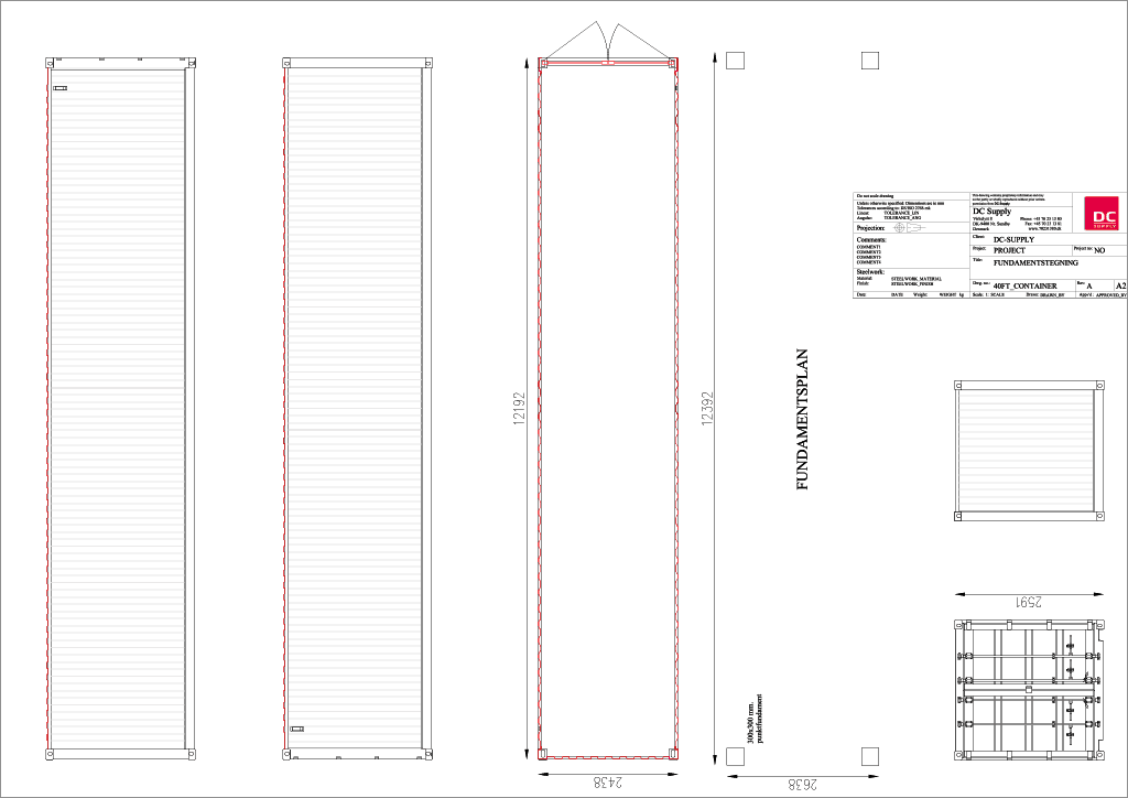 Foundation plan 40ft container