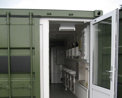 Wet room containers designed and built for military applications