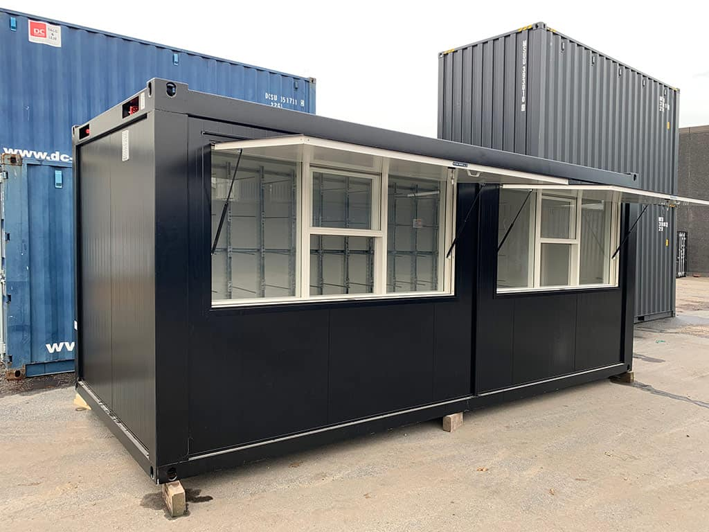 Custom sales stall container with serving hatches