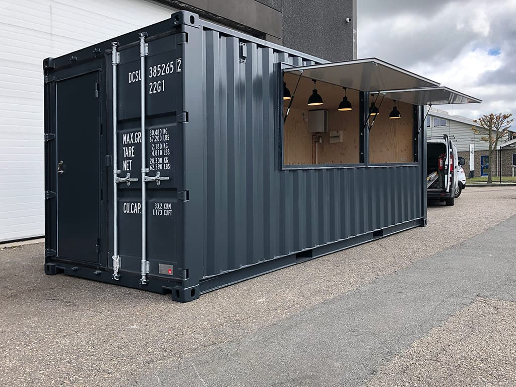 Sales booth: Custom-built mobile cafe container