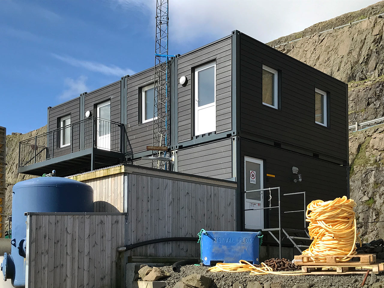 Canteen and conference room, adding an expansion to a custom-built container solution in the Faroe Islands
